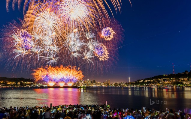Fireworks on July 4th at Gasworks Park in Seattle, Washington